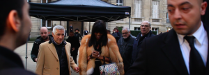 Naomi Campbell leaves fashion show